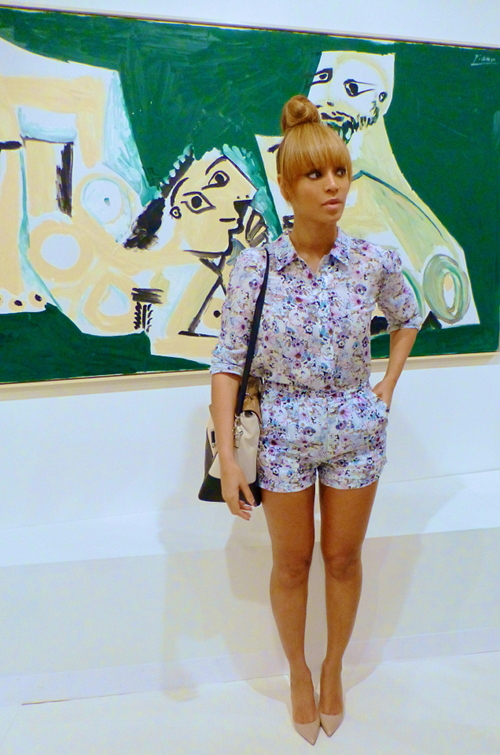 Beyoncé at Art Bassel ART BASEL MIAMI TREND REVIEW ART BASEL MIAMI TREND REVIEW 01 Beyonces Miami Art Basel Emma Cook Silk de Chine Floral Printed Button Down and Shorts  Home 01 Beyonces Miami Art Basel Emma Cook Silk de Chine Floral Printed Button Down and Shorts