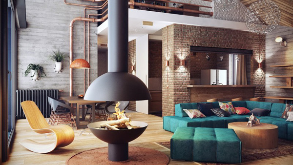 residential project by Uglyanitsa Alexander, using rusty pipes as odd elements of décor. RUSTY PIPES AS ODD ELEMENTS OF DÉCOR RUSTY PIPES AS ODD ELEMENTS OF DÉCOR Loft Interior  Home Loft Interior