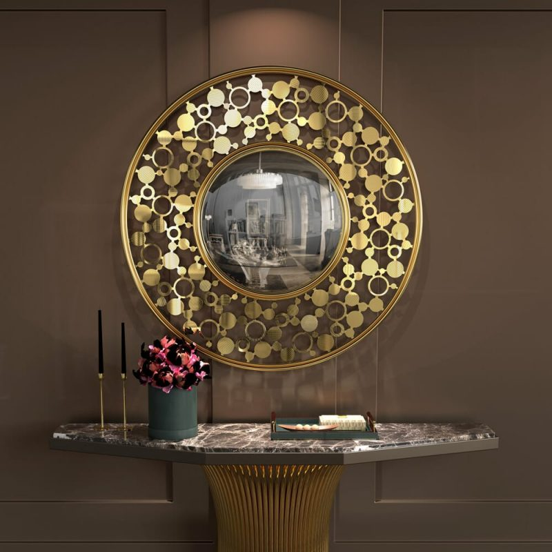 stunning mirrors Upgrade Your Home With These Stunning Mirrors! – Part II gold plated round convex mirror 1 e1613664646699