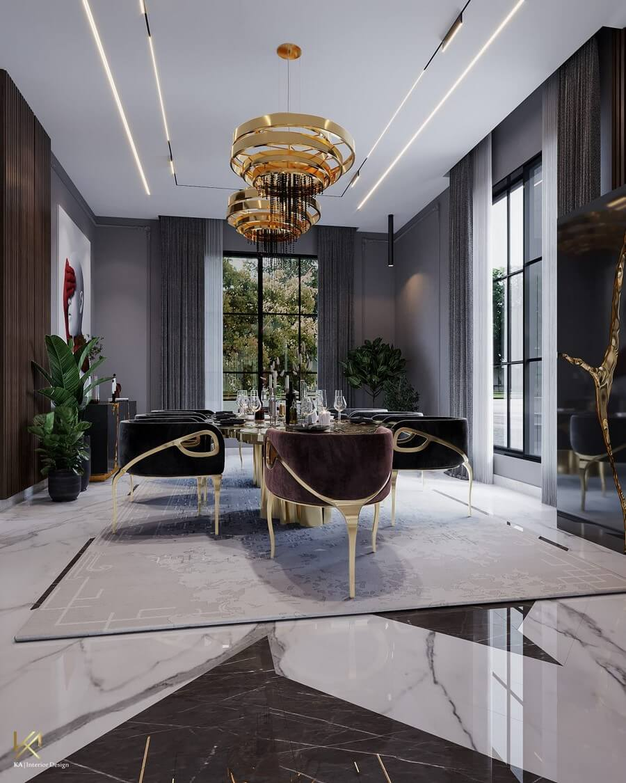 MODERN CLASSIC VILLA  Covet House x K.A Interior Design: A Opulent Modern Classic Villa In Riyadh MODERN CLASSIC VILLA 2